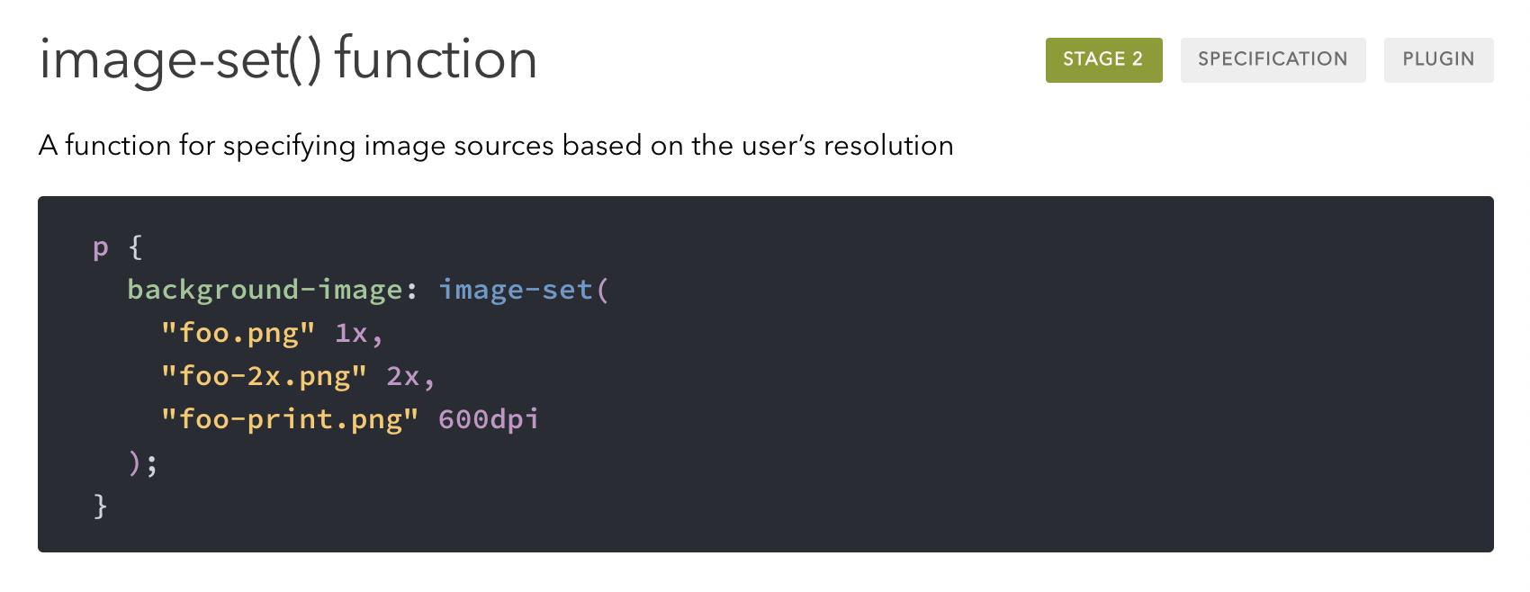 Función CSS image-set()